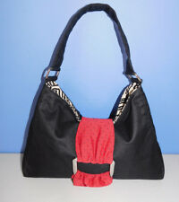 LISA LILL STUDIO BLACK AND RED HOBO, SHOULDER BAG, HANDBAG, PURSE