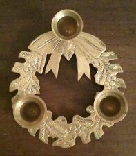SOLID BRASS CHRISTMAS WREATH HOLIDAY CANDLESTICK CANDLE HOLDER HOLLY BERRY BOW