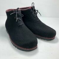 Wild & Wooly By Stegman Black Wool Four Eyelet Lace Up Womens Ankle Boots Sz 10