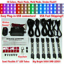 Million Color Smd 5050 Led Neon Motorcycle Lights Kit 6 Tubes Wireless Remote 18
