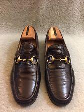 Vtg GUCCI Gold Horsebit Maroon Brown Patent Leather Men Loafer Sz 42.5 G /9