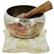 "Tibetan Singing Bowl Meditation Copper and Silver Buddhist Decor 4"" Inches"