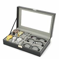 NEW Mens Watch Box 6 Black Leather Sunglasses Display Case Storage Organizer