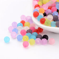 300 Pcs 6mm Mixed Transparent Round Frosted Acrylic Ball Beads Crafts Hole 1mm