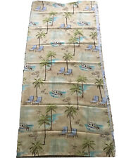 """Tropical SHOWER CURTAIN Cloth Tan 70"""" W x 75"""" L Nautical Palm Trees Beach NICE!"""