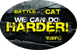"Black Cat ""We can do harder"" ovaler Aufkleber/Sticker 12x8cm Angelaufkleber"