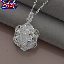 """925 Sterling Silver plated Rose Necklace Flower Pendant 18"""" Ladies Girls Gift UK"""
