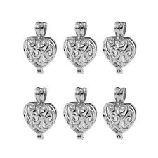 5pcs Heart Locket Pendant Fragrance Essential Oil Diffuser DIY Necklace 24*16mm