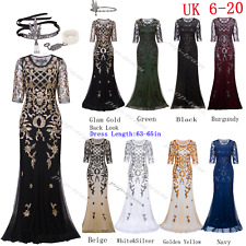 1920s Flapper Gatsby Party Long Formal Evening Prom Dresses Bridesmaids Gown UK