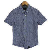 SuperDry Mens Button Up Shirt Size Medium Slim Blue Plaid Short Sleeve Collared
