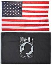 New listing 3x5 Usa American Flag & Pow Mia Powmia Usa Embroidered 210D Premium Set
