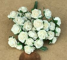 1:12 Scale 3 Bunches (30 Flowers) Of Cream Paper Roses Tumdee Dolls House Garden