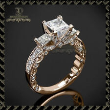 2.00Ct Diamond Three-Stone Princess Engagement Ring In 14K Solid Rose Gold