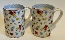 Two 222 Fifth New Country Fine China Floral Mugs