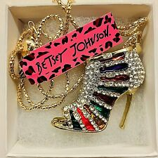 Colored Rhinestone High Heels Pendant Betsy Johnson Gold Tone Multi