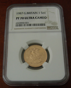 Great Britain 1987 Gold 1 Sovereign Pound NGC PF70UC