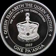 1996 Tonga Queen Mother Crown 1oz Silver Proof One Panga Crown Coin & Cert