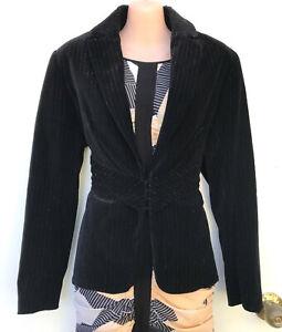FLEUR WOOD Black Velvet with Gold Metallic Thread Jacket/Blazer sz 3/12-14