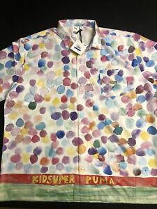New Men's Puma X KS AOP Shirt Tennis Polo RARE Comfort Casual 598953 02 Size XL