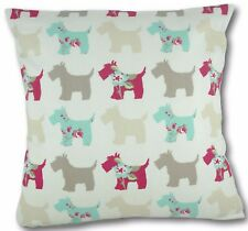 "Cushion cover in Clarke & Clarke Scotties dog fabric 17"" / 43cm square"