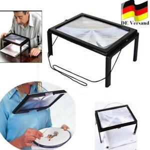 Lesehilfe Tischlupe Lupe mit 4 LED A4 Standlupe Licht faltbar Leselupe Senioren