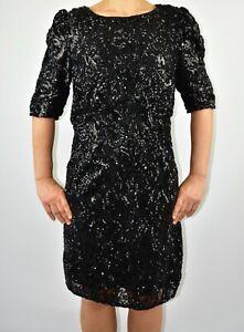 New Monsoon Black Sequins Pencil Dress Autumn Winter Wedding Party Size 14 AR