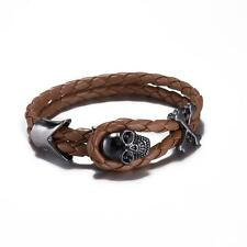 Men's Skull Brown Leather Cord Bracelet,  plumbum black color clasp