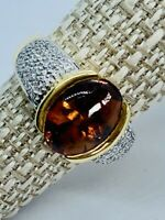 18 K Vintage Gold Ring With Cabochon Citrine And Small Diamonds