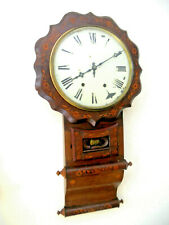Beautiful Extensively Inlaid New Haven Anglo American 1890 Regulator Wall Clock