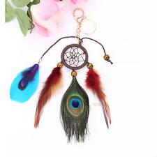 Handmade Dreamcatcher Peacock Feathers Car Bag Pendant Keychain Key Rings Gifts