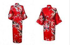2017 Silk Short/long Wedding Bride Bridesmaid Robe Women Floral Bathrobe Kimono