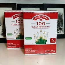 HOLIDAY TIME 100 Clear Mini Lights Green Wire X2 Wedding Christmas, SHIPS FREE!!