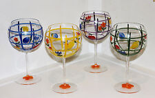 Wine Glasses Goblets Set of 4 Hand Painted Balloon Bowl 16 oz Colorful