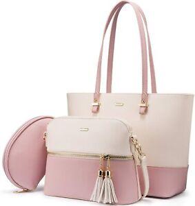 Baby Pink Leather Handbag for Women Hobo Shoulder Bag Large Ladies Purse Set