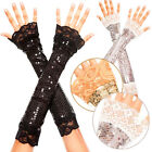 Sequined Sparkly Long Retro Arm Warmers Dance Gloves Halloween Flapper Costume