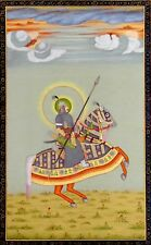 Indian Portrait King Riding on horse with Traditional Weapons Miniature Painting