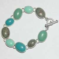 Multi shade faux turquoise oval cabochon matte silver tone toggle clasp bracelet