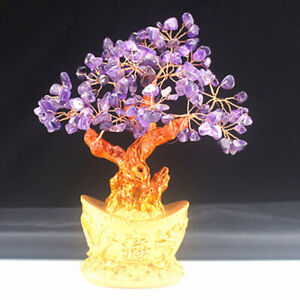 Crystal Money Tree Ornament Feng Shui LUCKY Wealth Gift Chinese Golden Tree