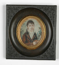 """Portrait of a young gentleman"", Spanish (?) miniature on organic wafer, ca.1800"