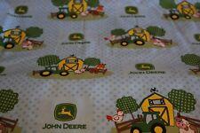 John Deere baby toddler sheets set  tractors farm polka dots blue
