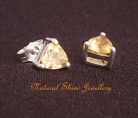 Stud Earrings 925 Sterling Silver 6X6mm Triangle Semi-Precious Natural Gemstone