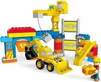Mega Bloks Bob The Builder Work Yard Construction Building Kit, Excavator, Crane