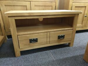 Baysdale Rustic Oak 2 Drawer TV Unit / Small Media Stand / Living Room Furniture
