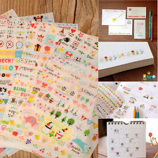 New Cute 6 Sheet Paper Stickers for Diary Scrapbook Wall Phone Decor Photo Skin