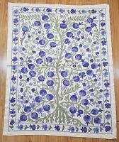 Hand embroidered blue suzani wall hanging,uzbek blue boho suzani tablecloth