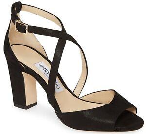 Jimmy Choo Carrie Womens Shimmer Suede Crisscross Heel Sandal Black Size 39 US 9