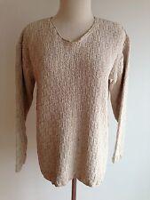 Liz Claiborne V-Neck Sweater Natural/Beige Silk/Cotton Blend Size M