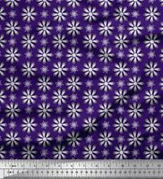 Soimoi Purple Cotton Poplin Fabric Crystals Floral Printed Fabric-tO7