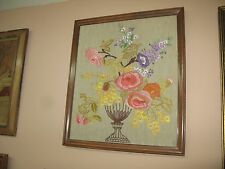 Antique Hand stitched Embroidery Linen Textile Tapestry Early 1900's