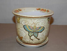 "New 5.5"" Oriental Colorful Butterflies Butterfly Planter Plant Pot & Saucer"